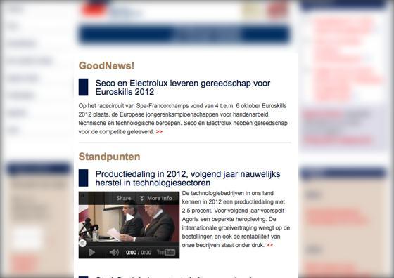 Screenshot van agoria.be